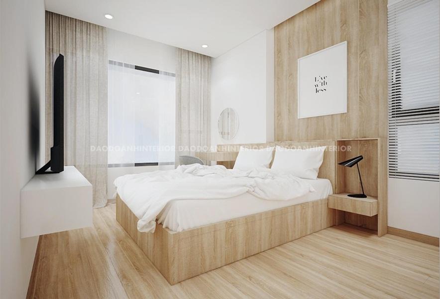Thiết kế phòng ngủ căn hộ chung cư nhỏ với màu sắc nhẹ nhàng