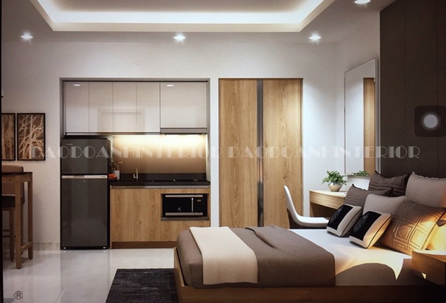 Thiết kế nội thất căn hộ chung cư nhỏ 50m2 dành cho cặp đôi.