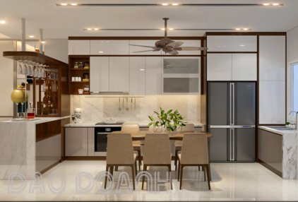 Tủ bếp acrylic màu trắng dán cạnh không đường line